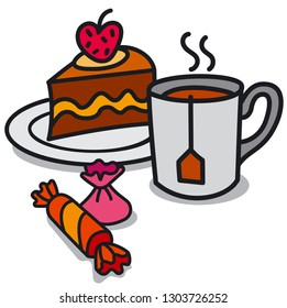 illustration of hot tea in the mug and cake with candy