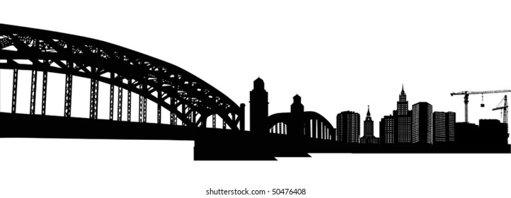 illustration with house building and bridge