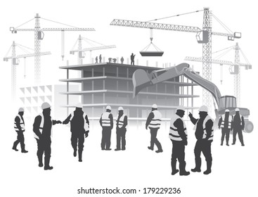Illustration with house building and cranes. Construction workers