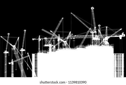 illustration with house building and cranes isolated on black background