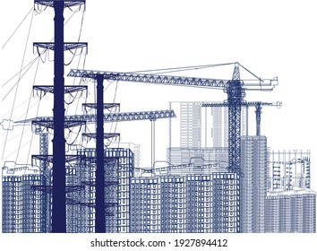 illustration with house building and cranes isolated on white background