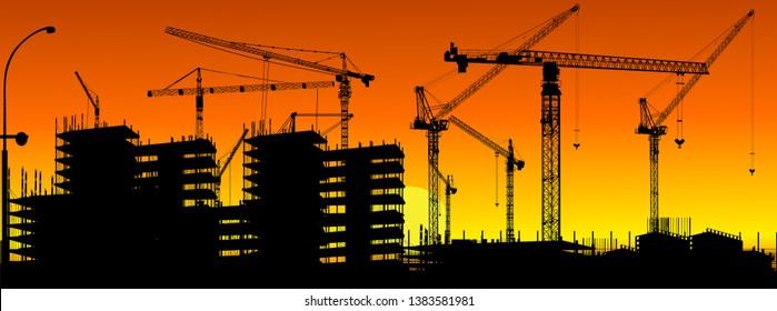illustration with house building at orange sunset