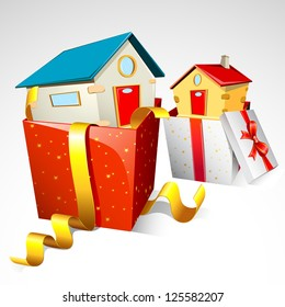 illustration of house in gift pack on white background