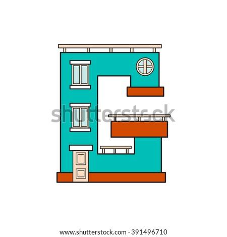 Illustration House Letter Alphabet Letter Isolated Stock