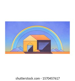 illustration of a house with a rainbow background behind it