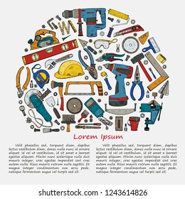 Illustration with house repair tools including: hammer, sledgehammer, spatula, brush, nail, screw, nut, wrench  and other tools. Hand drawn vector collection
