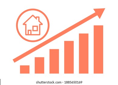 Illustration of a house with a roof, chimney and windows, and a graph showing the increase. Image about real estate. Vector illustration.