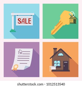 Illustration of House For Sale Icons from Sale Sign, Key with House Key Chain, Deed of Sale to House