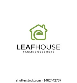 Illustration of a house sign with a beautiful leaf in it