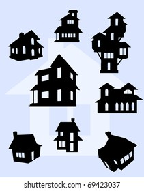 Illustration of house silhouettes in black