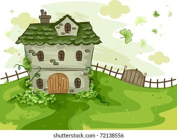 Illustration of a House Surrounded by Shamrocks