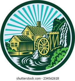 Illustration of a house with watermill falls river set inside circle with sunburst in the background done in retro woodcut style.