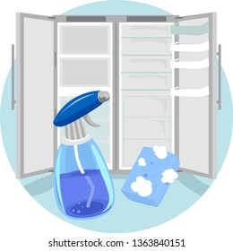 Illustration of Household Chores, Cleaning Refrigerator with Soapy Sponge and Cleaner in Spray Bottle
