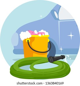 Illustration of Household Chores, Washing Car, with a Car, Pail Full of Soapy Water and Hose