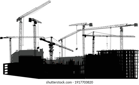 illustration with houses building and cranes isolated on white background
