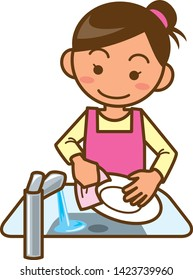 An illustration of a housewife washing dishes. (Upper body)