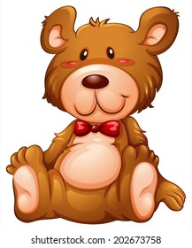 Illustration of a huggable brown bear on a white background