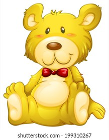 Illustration of a huggable yellow bear on a white background