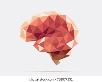 Illustration of human brain with faceted low-poly geometry effect