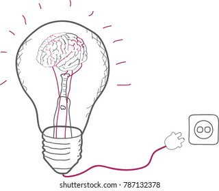 Illustration of human brain inside electric bulb and connected to socket. Concept for intelligence, new ideas, brain activity
