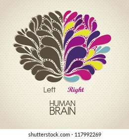 Illustration of human brain. Lobes and functions, vector illustration