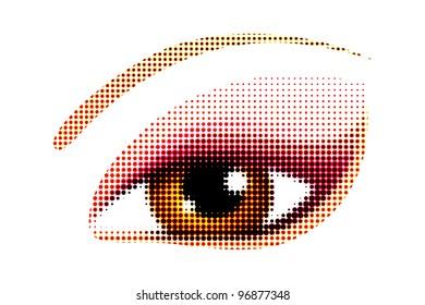 illustration of human eye in halftone style