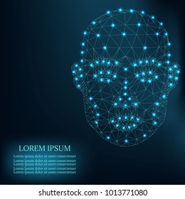 Illustration of human face consisting of polygons, dots and lines, isolated on futurustic blue background. Lines connected to points, symbolizing the meaning of artificial intelligence.