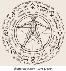 Illustration of a human figure in an octagonal star with magical inscriptions and symbols on the beige background. Vector banner with a human figure like Vitruvian man by Leonardo Da Vinci