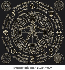 Illustration of a human figure in an octagonal star with magical inscriptions and symbols on the black background. Vector banner with a human figure like Vitruvian man by Leonardo Da Vinci