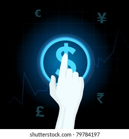 illustration of human hand playing with different currency on touch screen