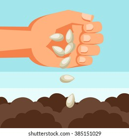 Illustration of human hand sows seeds into soil.