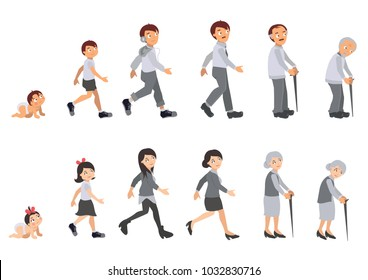 Illustration of human life cycle. Man and woman started from baby, grow become kids, teenager, and getting old.