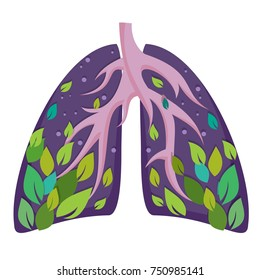 Illustration of human lungs in a circle. Air circulation.