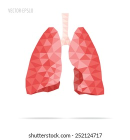 Illustration of human lungs with faceted low-poly geometry effect, vector