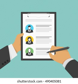Illustration of human resources management, professional staff research. Analyzing personnel resume. CV application. Man holds a clipboard with descriptions and photographs of personnel.