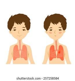 Illustration of human respiratory system. Healthy lungs and bronchi diseases.