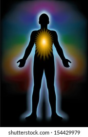 """Illustration of human silhouette surrounded by light and spectrum of colors as """"aura"""" and sun rays in center of body representing inner light - """"illumination of soul""""."""
