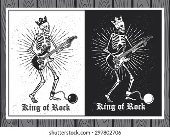Illustration of human skeleton with guitar. King of Rock. Skeleton guitar player.