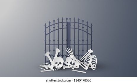 Illustration of human skeleton on Halloween. Entrance door decorated with human skeleton on Halloween. paper cut and craft style. vector, illustration.