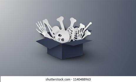 Illustration of human skeleton on Halloween. Human skeleton design in black paper box for Halloween. paper cut and craft style. vector, illustration.