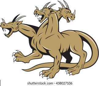 Illustration of hydra, in Greek and Roman mythology, a multi-headed serpent-like monster crouching ready to attack set on isolated white background done in cartoon style.