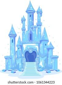 Illustration of an Ice Castle Shining in Blue and Violet