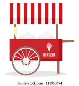 Illustration of ice cream cart isolated in white background.