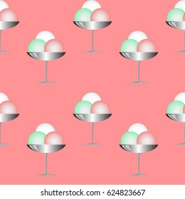 Illustration Ice Cream in cups. Seamless texture on pink background.
