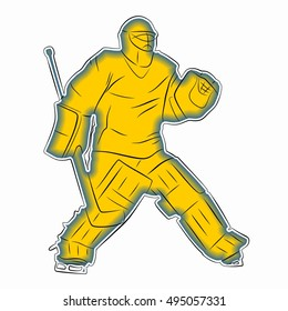 illustration of a ice hockey goalie. color draw and white background