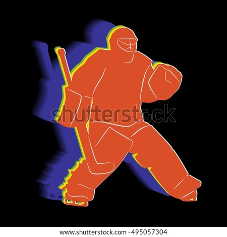 Illustration Ice Hockey Goalie Color Draw Stock Vector Royalty Free