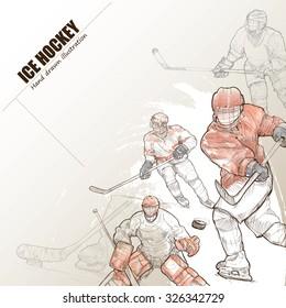 Illustration of ice hockey. hand drawn. ice hockey poster. Sport background.