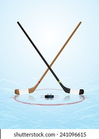 An illustration of ice hockey sticks, puck, and ice rink. Vector EPS 10. EPS file contains transparencies and gradient mesh.