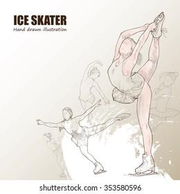 Illustration of Ice Skater. hand drawn. Ice Skater poster. Sport background.