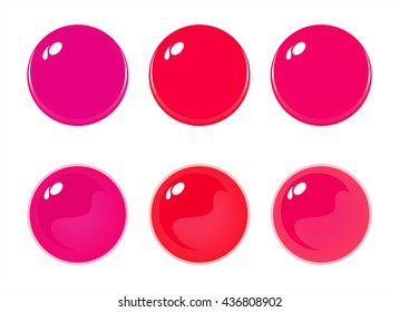 Illustration of icon bottons isolated on white. Set of Red labels, 6 bottons. Multi-colored glass balls. Vector